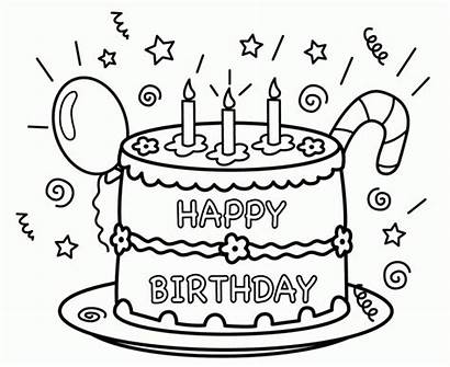Coloring Birthday Happy Pages Printable Cake