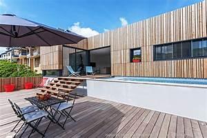 Bassin De Terrasse : maison bois avec terrasse et bassin de nage en b ton ~ Premium-room.com Idées de Décoration