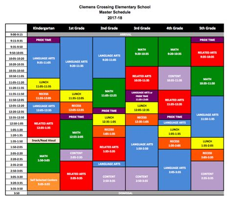 cces master schedule clemens crossing elementary school