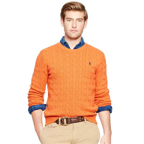ralph polo sweaters polo ralph orange cable knit tussah silk sweater