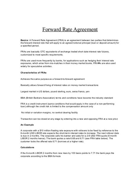 rate agreement calculation