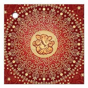 """2 5"""" Sq Wedding Favor Tag Hindu Ganesh Red, Gold"""
