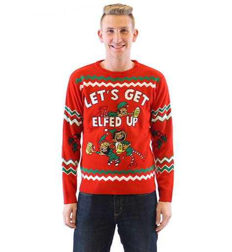 igly sweater let 39 s get elfed up drunken elves sweater