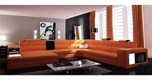 deco in paris canape panoramique cuir angle gauche With canape angle orange