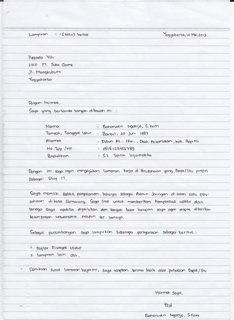 contoh application letter related keywords contoh