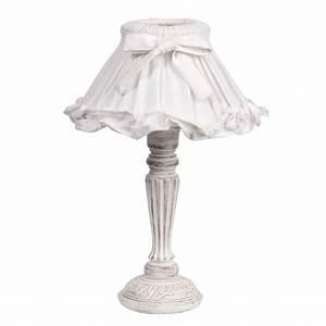 Abat Jour Salon : lampe de chevet blanche abat jour volant en tissu h 38 cm sonnet maisons du monde ~ Teatrodelosmanantiales.com Idées de Décoration