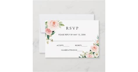 Blush White Bloom Gold Frame Floral Wedding RSVP Zazzle com