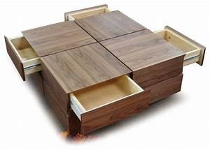 modern walnut square coffee table with drawers soma With modern square coffee table designs