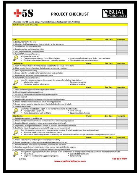 Checklist Template Project Checklist Template Project Checklist 1 Sle