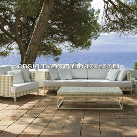 2015 top sale weather white wicker patio sofa set in