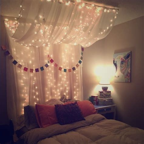 tapestry with lights behind full queen bed canopy with lights white christmas lights