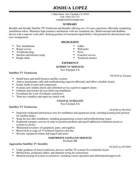 simple satellite tv technician installer resume exle