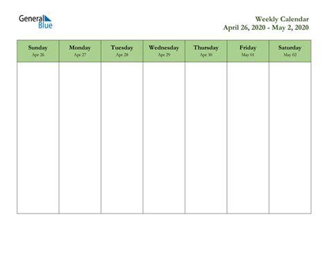 weekly calendar april