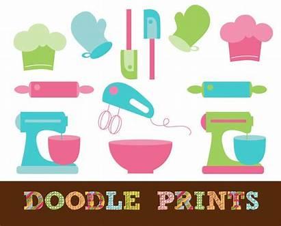 Clip Baking Tools Clipart Kitchen Printable Supplies