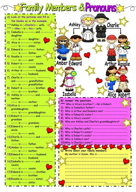 lovely family worksheet  esl printable worksheets
