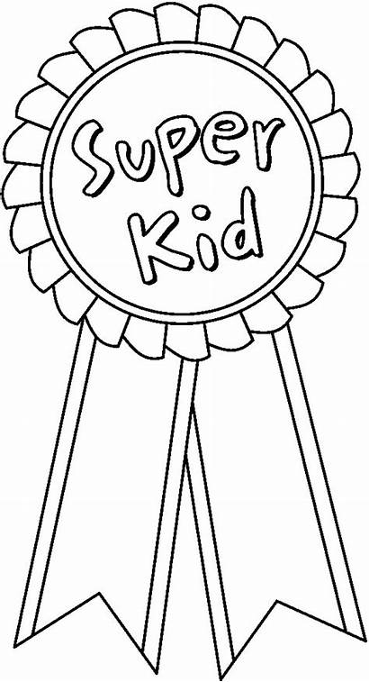 Coloring Ribbon Pages Clipart Trophy Award Week
