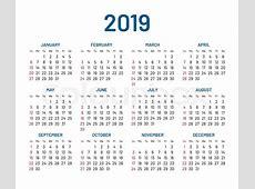 Simple wall calendar 2019 year, flat, Stock Vector