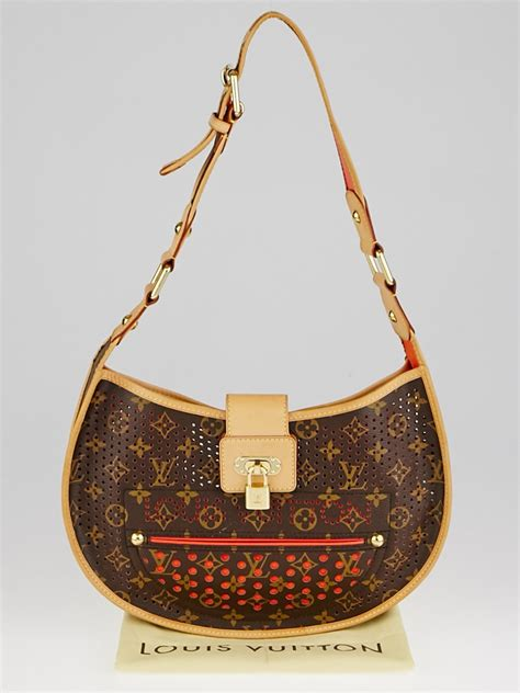 louis vuitton limited edition orange monogram perforated demi lune bag yoogis closet