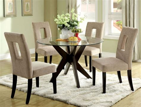 Stylish Round Glass Dining Room Table And Round Dining