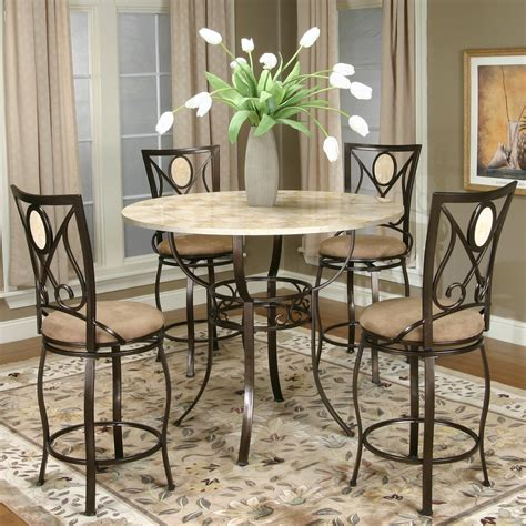 Five Piece Pub Table And Swivel Stool Set By Cramco, Inc
