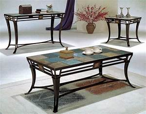Owning long lasting living room beauty from captivating for Metal coffee table with stone top