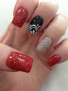 Black, Red, Silver with Lace Nail Design | Nails ...