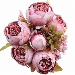 8 Heads Artificial Peony Home Wedding Faux Silk Simulation