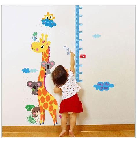sk giraffe cartoon measuring height stickers removable