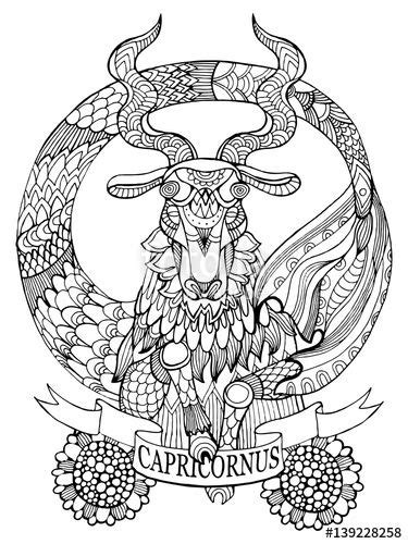 Capricorn zodiac sign coloring page for adults | Fotolia