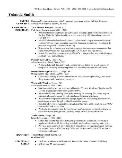 Sle Of Resume For Customer Service by 12 13 Resume With Objective And Summary