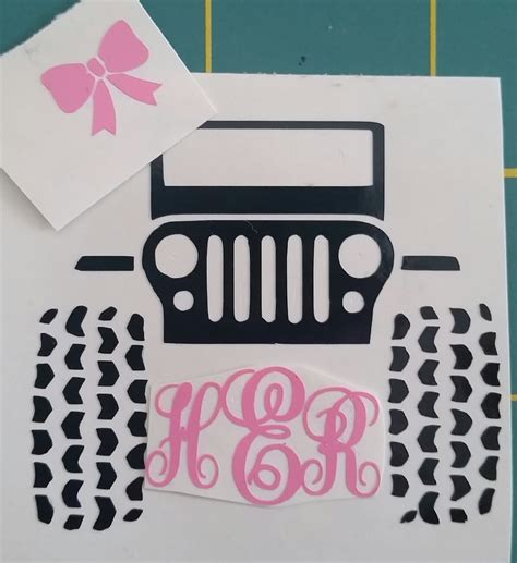 jeep decal with bow jeep monogram decal jeep with bow decal jeep decal jeep