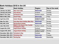 July 2018 Calendar With Holidays Uk July 2018 Bank Holiday