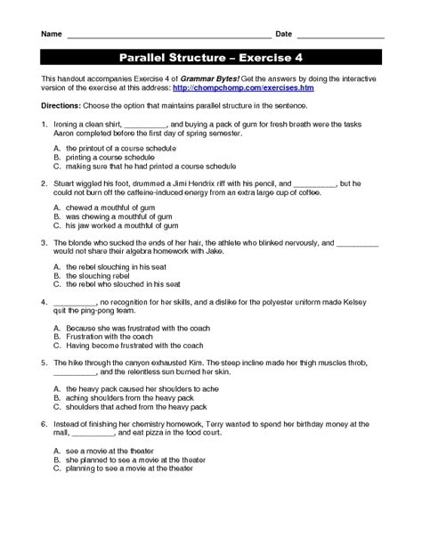 parallel structure practice worksheet for 5th 12th grade
