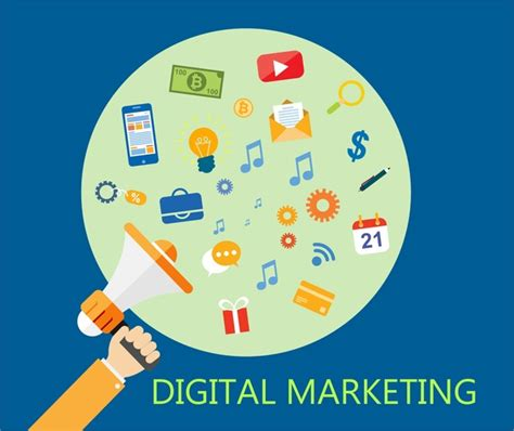 digital marketing free digital marketing concept with peaker and icons