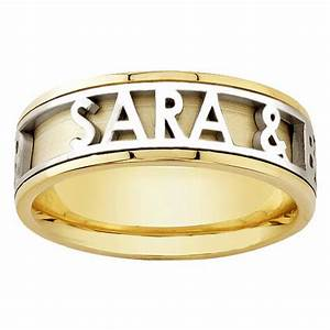 14k yellow gold name personalized band 6mm 3003515 shop With name wedding rings