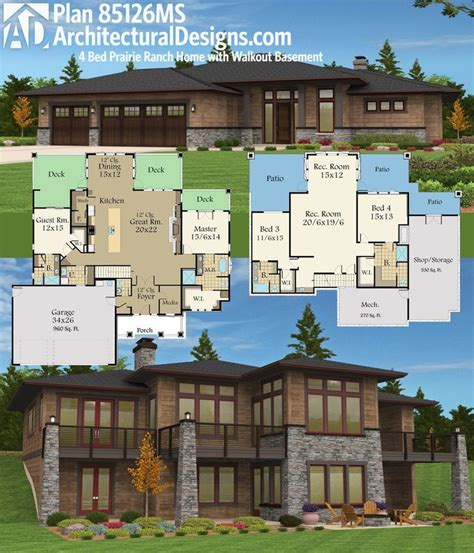 plan ms prairie ranch home  walkout basement rancher house plans lake house plans