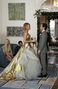 serena van der woodsen39s gold georges chakra couture gown With serena van der woodsen wedding dress