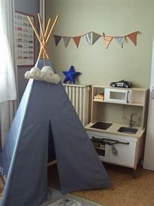 Tipi Chambre Bébé : patron du tipi du livre petits riens pour la chambre d 39 enfant popeline bleue grise mt ~ Teatrodelosmanantiales.com Idées de Décoration