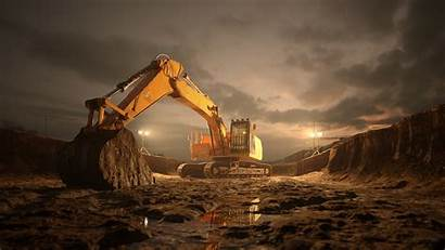 Excavator Cgi Background Behance Wallpapers