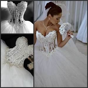 princess ball gown sweetheart lace appliques pearl see With see through bodice wedding dress