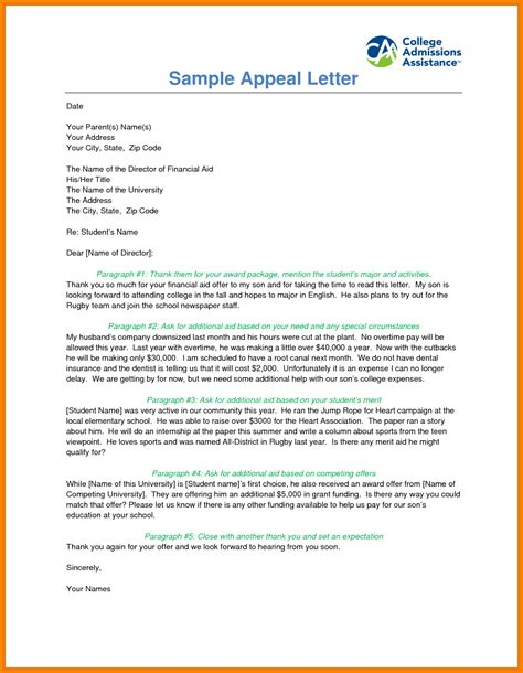 writing  appeal letter  financial aid