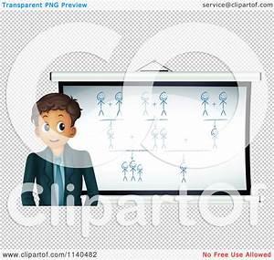 Cartoon Of A Businessman Or Teacher By A Social Network