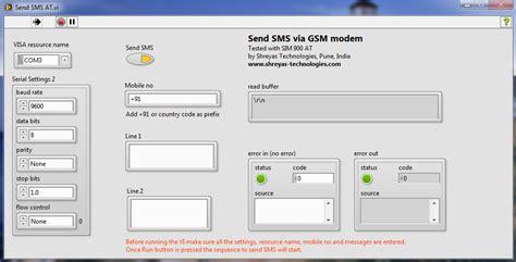 Send Sms Sim Gsm Modem Labview