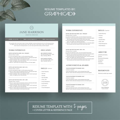 Free Resume Templates For Pages by Modern 2 Page Resume Template With Cover Letter And