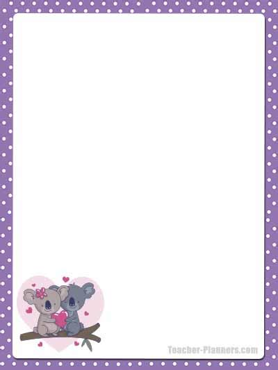 cute australian animals stationery  printable unlined paper timesaver