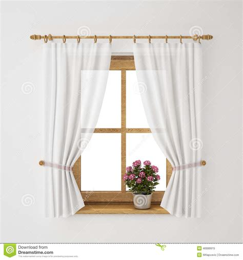 vintage wooden window frame with curtain and flowerpot