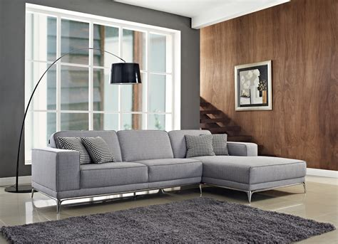 Agata Sectional Fabric Sofa In Light Grey Color By
