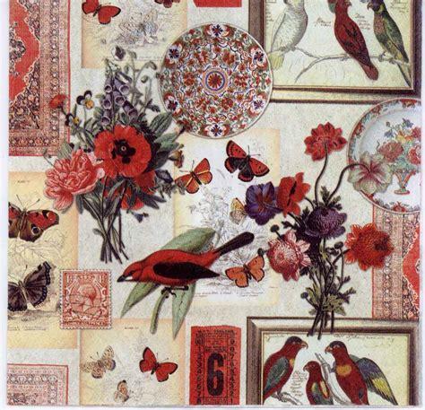 decoupage paper  collage  robin butterflies birds