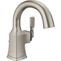 shop delta sawyer spotshield brushed nickel 1 handle single bathroom sink faucet at lowes