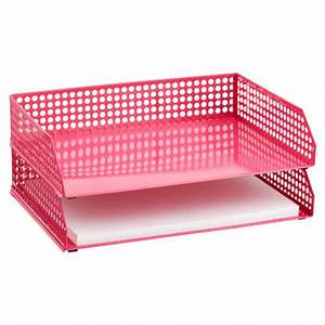Pink edison stacking letter tray decor by color for Decorative stacking letter trays